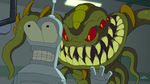Futurama Murder on the Planet Express Alien Sneaking Up Behind Bender.jpg